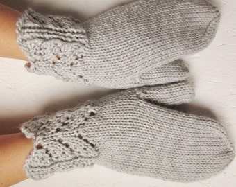 Knitted  mittens, Womens,light grei merino gloves,Mittens Knitted , Woman gloves, Handmade, Valentine day gift