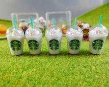 Set of 5 Starbucks Coffee Dollhouse Miniatures Food, Deco, Cute
