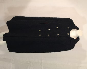 Vintage Black Faux Fur Persian Lamb 1950s 50s Fifties Cape Double Breasted OSFM Hollywood Glamour Steampunk