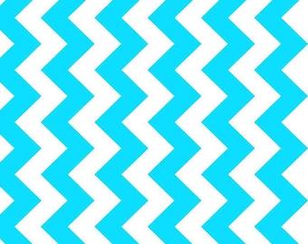 One Yard NEONS - Medium Chevron in Neon Blue - Cotton Quilt Fabric - C320-100 - Riley Blake Designs (W2466)