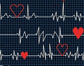 Half Yard Calling All Nurses - Heart Beat EKG in Black - Cotton Quilt Fabric - Whistler Studios for Windham Fabrics 37302-1 (W449)