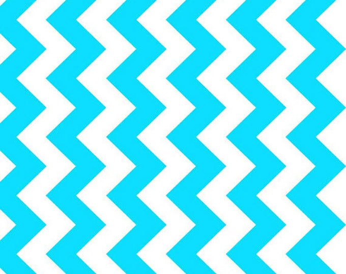 One Yard NEONS - Medium Chevron in Neon Blue - Cotton Quilt Fabric - C320-100 - Riley Blake Designs (W2466)