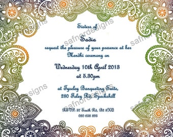 DIY Printable Overlay Mendhi Invitation