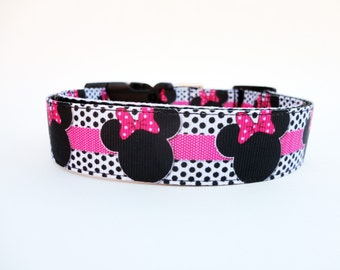 Pink Disney Minnie Mouse Dog Collar Adjustable