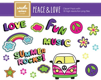 Peace and Love Clipart Set