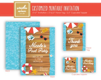Printable Customized Invitation - Pool Party