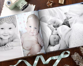 Custom Photo Album - Engagement, Wedding, Birthday, Family, Baby, Travel - Your Pics, Quality Printing, Design Service, Front/Back Printing