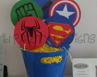 SUPERHERO CENTERPIECE AVENGERS X-men, Justice League Hulk, Captain America, Ironman, Spiderman, Superman, Thor, Batman, Super hero, Flash