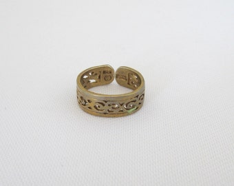Vintage Sterling Silver Adjustable Filigree Band Ring Size 3