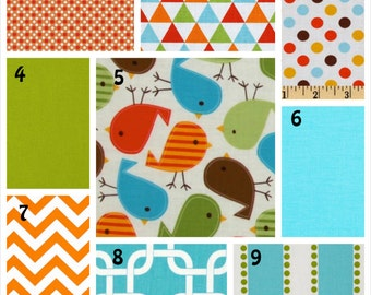 Baby Boy 3 Piece  Bedding - Minky Blanket, Sheet and Crib Skirt in Bright Birds Aqua Orange Lime