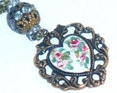 Victorian Heart Pendant Necklace Hand Paint Heart Pendant Necklace Floral Pendant Necklace