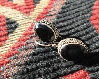 Ornate Black Onyx and Sterling Silver Dangle Earrings