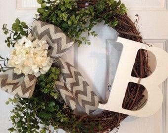 SUMMER HYDRANGEA WREATH, Monogram Wreath, Chevron Wreath, Year Round Wreath, Grapevine Wreath , Wedding Gift,Hydrangea Wreath, Spring Wreath