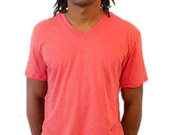 Men's V Neck T Shirt in Chcolate Brown and Clockwork Coral Orange