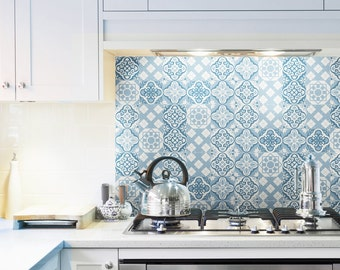 backsplash tile calm blue moroccan decal vintage decals vinyl stickers