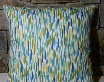 Mid Century Modern Seaglass Blues Greens Pillow Cover