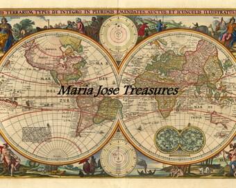 Vintage World Globe Maps - Digital Download