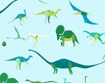 Natural History Lizzy House- Dinos in Green 1/2 Yard