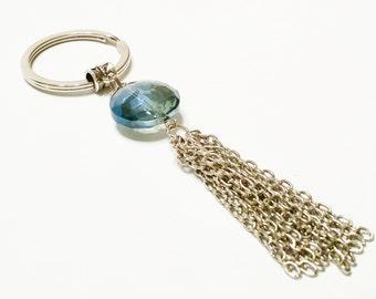 Tassel Keychain / Chain Tassel Key Ring / Beaded Key Chain / Gift for Her / Gift Under 10 / Metal Tassel Key Ring / Bead and Tassel Keychain