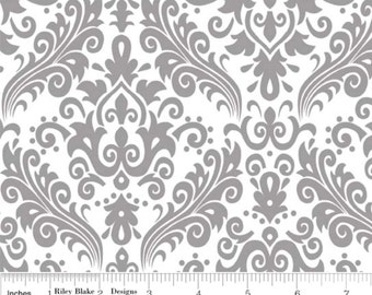 Hollywood Med Damask Gray on White-One Yard- Riley Blake