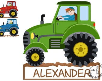 Wall Decal tractor door sign nursery Baby Room Wall Stickers Wall Decals farmer farm