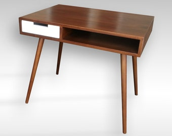 "Mid Century Inspired Writing Desk With Drawer. 34""x 24"" Solid Wood.Writing/Study/Computer Desk/Vanity"
