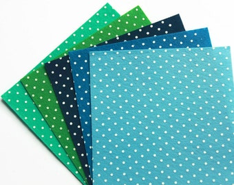 5 Sea Breeze Polka Dot Felt Squares - 15cms x 15cms - 6 x 6 inches - Blue Printed Felt - Spotty Polyester Felt - Pattern Craft Felt - FT08