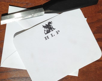 Best Personalized Fathers Day Gift Ideas: Monogrammed Dragon Stationery for men, Set of 10+ Great Gift for Dads, top fathers day gifts