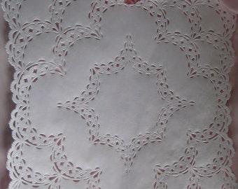 "12"" inch Square White paper Doilies - Scalloped Corners -  25 pcs DIYS Wedding Envelopes placemats charges"