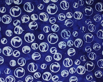 Anthology Fabrics Bali Batik 7146 Circles on Navy Yardage
