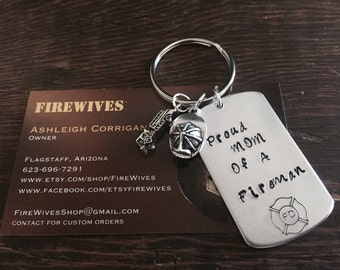 Proud Mom Of A Fireman Keychain
