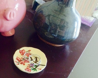 Hand Painted Cherry Blossoms Ceramic Miniature Decorative Plate