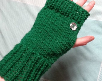 Green Ribbed Gloves, Sparkly Button Gloves, Glittery Gloves, Green and Sparkly, Fingerless Gloves, Green Wool Gloves, Green Yarn Gloves