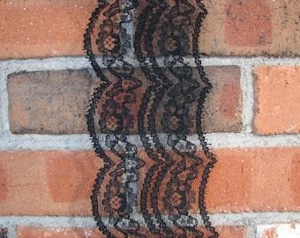 Vintage Lace - Black Vintage Lace - Wide Lace - Nylon lace - Scalloped Lace
