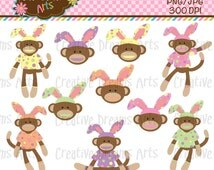 40% Off! Easter Sock Monkey Digital Clip Art Instant Download