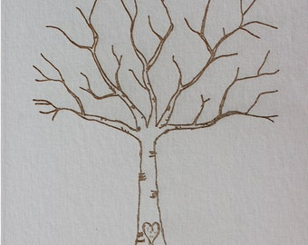 Guest book,  Thumbprint tree,  Wedding Tree Guest Book,  Wedding Guest Book, Fingerprint tree,  wedding guest book alternative - many sizes