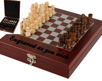 Engraved chess set,  personalized gift,  rosewood finish chess set,  Christmas gift,  custom gift,  Fathers Day,  Gift for Dad
