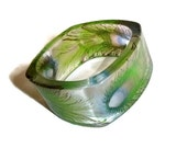 70's Lucite Bangle Peacock Feathers Green Teal Translucent Acrylic Bracelet, Vintage Boho Jewelry Gift Bohemian Hippie Gypsy...
