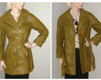 70's Leather Jacket, Fall Autumn Vintage Distressed Leather Jacket, 1970's Leather Coat, Olive Green Worn Leather, Boho Mod Outerwear