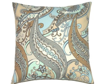 Pillow Cover, 16x16 Pillow Cover, Decorative Pillows, Blue Cushion Cover, Throw Pillow, Accent Pillow, cm, Modern, Paisley Puzzle Etherea