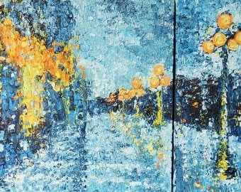 Abstract. Original Large Oil Painting .Rain in the blue city.Night lights. Diptych