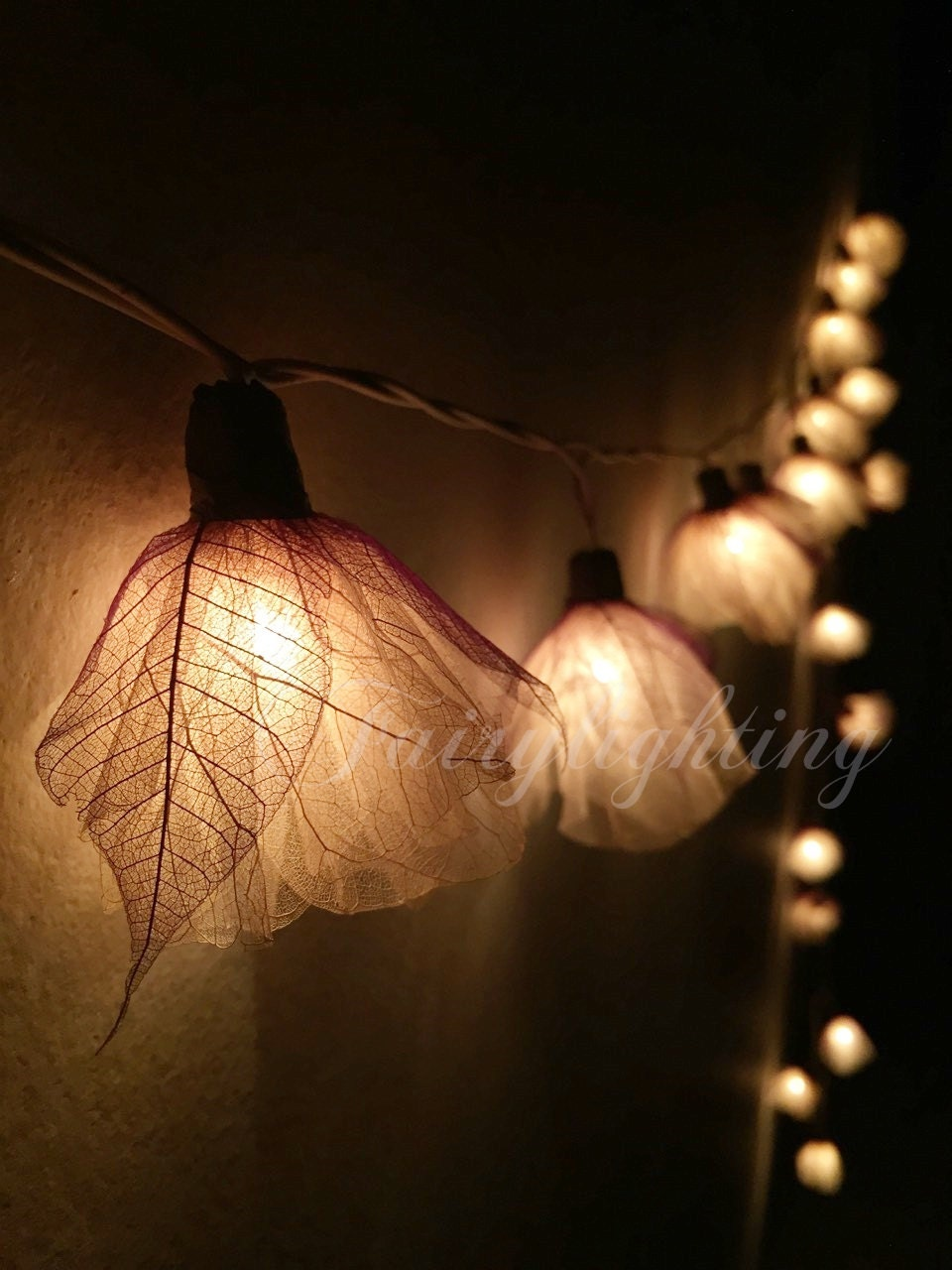 Argos Flower String Lights : Fairy lights 20 White Carnation Flower String by fairylighting