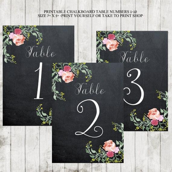 chalkboard table numbers ~ printable chalkboard table numbers wedding by