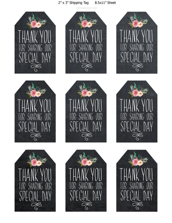 printable wedding favor tags, thank you printable tags, digital thank ...