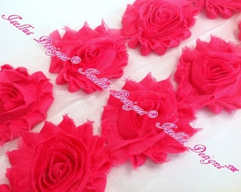 "Beautiful 6 Piece  2.5"" Hot Pink Shabby Flower"
