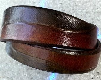 Custom leather wraparound bracelet