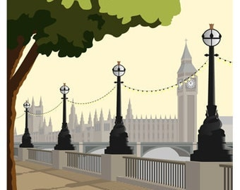 LONDON. Art print Travel/Railway Poster of London Southbank. A4, A3, A2 in Retro, Art Deco style design