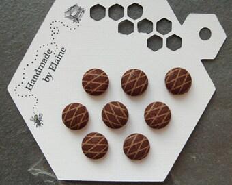 Fabric Covered Buttons - 8 x 12mm buttons, handmade button, brown buttons, chequor buttons, tan buttons, diamond button, lattice button 0647