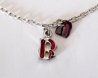 Alphabet Letter B with Natural Shell Anklet, Ankle Bracelet, chain, Handmade
