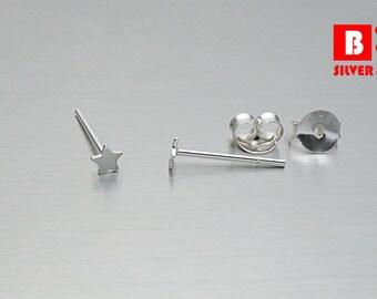 925 Sterling Silver Earrings, Tiny Star Earrings, Stud Earrings, Size 3 mm (Code : E49A)